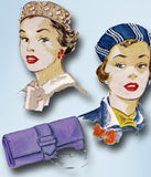 1950s Vintage McCalls Sewing Pattern 1531 Uncut Misses Hat and Clutch Purse 23H