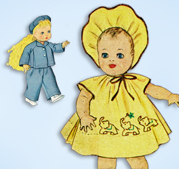 1950s Vintage McCall Sewing Pattern 1549 16 Inch Baby Coo Baby Doll Clothes ORIG