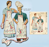 1930s ORIG Vintage McCall Sewing Pattern 1597 Uncut Mrs & Mr BBQ Apron Fits All - Vintage4me2