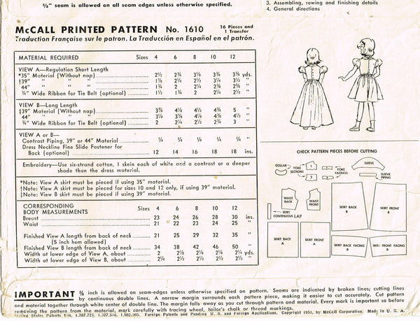 1950s Vintage McCall Sewing Pattern 1610 Toddler Girls Sheer Dress or Gown Sz 4