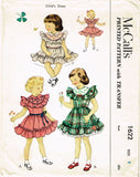 1950s Vintage McCalls Sewing Pattern 1622 Toddler Girls Clover Dress Size 2