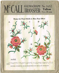 1920s Vintage McCall Embroidery Transfer 1632 Moss Rose Spanish Stole Trims FF