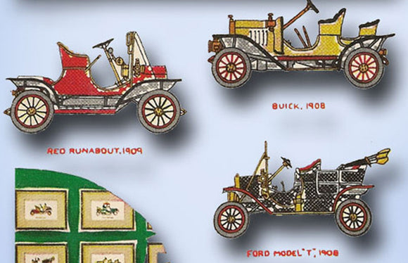 McCall 1636: Vintage Embroidery Transfer Antique Cars for  Pictures or Pillow tops