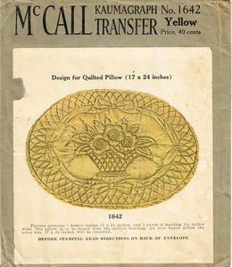 1920s Rare Vintage McCall's Embroidery Transfer 1642 Uncut Quilted Pillow Motif - Vintage4me2