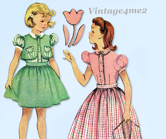 1950s Vintage McCalls Sewing Pattern 1655 Little Girls Bolero Dress Size 10 28B