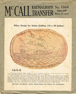1920s Vintage McCall's Embroidery Transfer 1664 Uncut Tall Ship Quilted Pillow - Vintage4me2