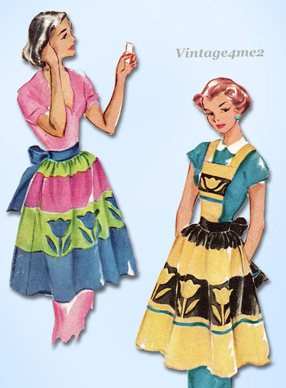 McCalls 1665: 1950s Charming Misses Tulip Apron Fits All Vintage Sewing Pattern