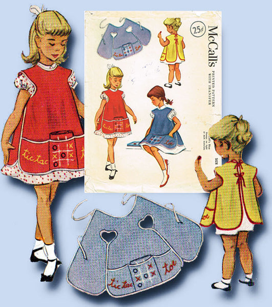 1950s Vintage McCalls Sewing Pattern 1712 Little Girls Tic Tac Toe Apron Size 8
