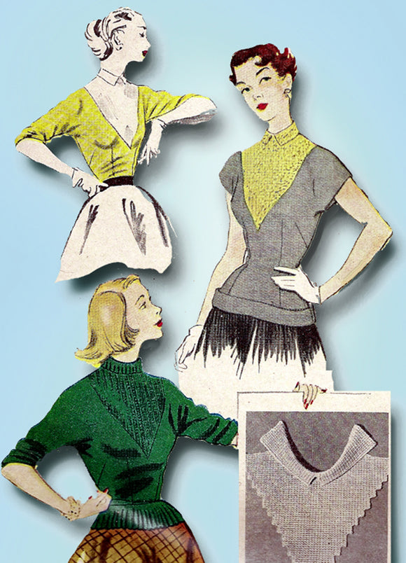 1950s Vintage McCalls Sewing Pattern 1726 Uncut Misses Sweater Blouse Sz 32 Bust - Vintage4me2