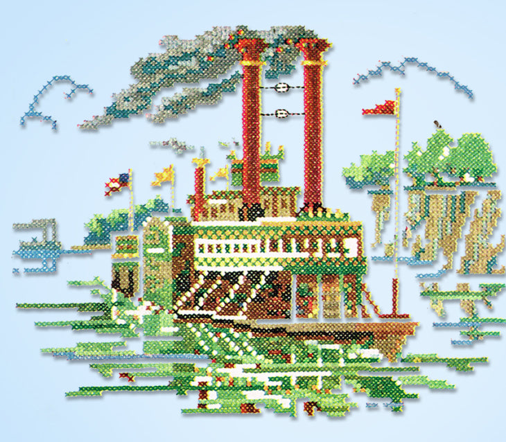 1950s Original Vintage McCall Embroidery Transfer 1764 Uncut Steamboat Scene