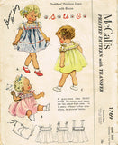1950s Vintage McCalls Sewing Pattern 1769 Uncut Baby Girls Dress Fits Size 1-3