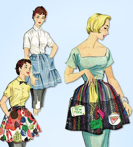 1950s Vintage McCall's Sewing Pattern 1878 Uncut Misses Clamp On Apron Fits All
