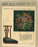 1930s McCall Kaumagraph Embroidery Transfer 1943 Crewel Needlepoint Chair Seat