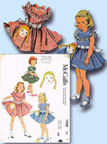 1950s Vintage McCalls Sewing Pattern 1950 Uncut Toddler Girls Dollface Dress Sz2