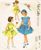 1950s Vintage McCall's Sewing Pattern 2017 Toddler Girls Party Dress & Slip Sz 6 -Vintage4me2