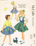 1950s Vintage McCalls Sewing Pattern 2021 Toddler Girls Skirt and Blouse Size 4