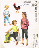 1950s Vintage McCall's Sewing Pattern 2033 Toddler Girls Peddle Pushers & Blouse Sz 6 - Vintage4me2