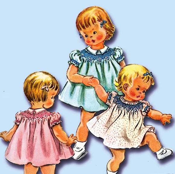 1950s Vintage McCall's Sewing Pattern 2075 Cute Baby Girls Smocked Dress 6 mos - Vintage4me2