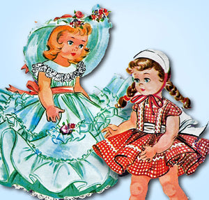 1950s Vintage McCalls Sewing Pattern 2084 14 to 15 Inch Little Girl Doll Clothes