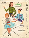 1950s Vintage McCalls Sewing Pattern 2103 Girls Blouse Color Name Transfer Sz 10