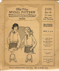 1920s Vintage McCall Sewing Pattern 2103 Uncut Girls Shirtwaist Blouse Size 14 - Vintage4me2