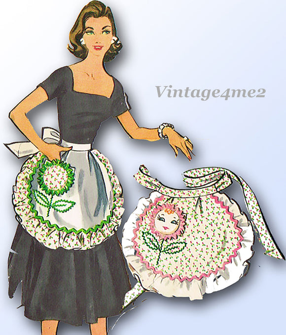1950s Vintage McCalls Sewing Pattern 2135 Uncut Flower Face Apron Fits All