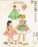 1950s Vintage McCalls Sewing Pattern 2139 Toddler Girls Dress or Gown Size 2