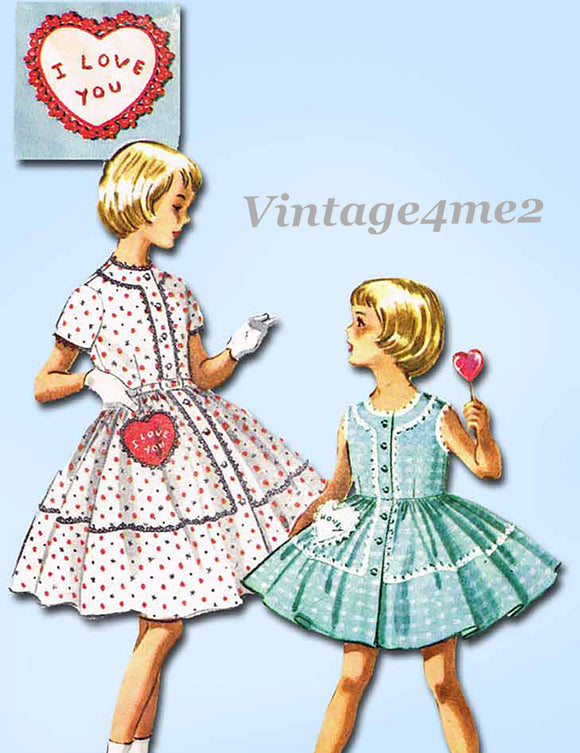 McCall's Pattern 2157: 1950s Cute Girls Dress w Heart Pocket Sz 4 Vintage Sewing Pattern