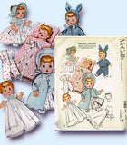 1950s Vintage McCalls Sewing Pattern 2183 Ginette 8 to 9 Inch Baby Doll Clothes