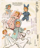 1950s Vintage McCalls Sewing Pattern 2183 Betsy Wetsy 19-21 Baby Doll Clothes