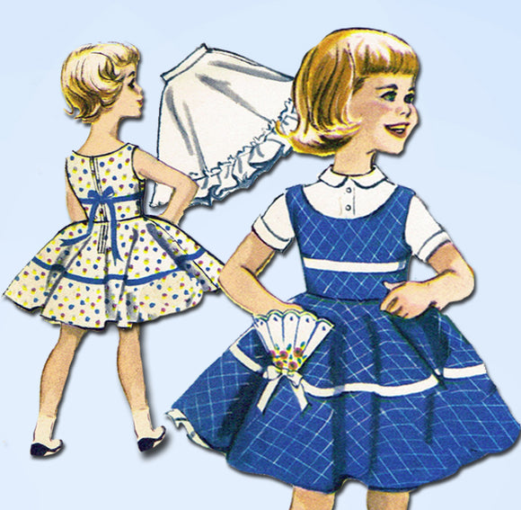 1950s Vintage McCalls Sewing Pattern 2188 Girls Circle Skirt & Petticoat Size 8