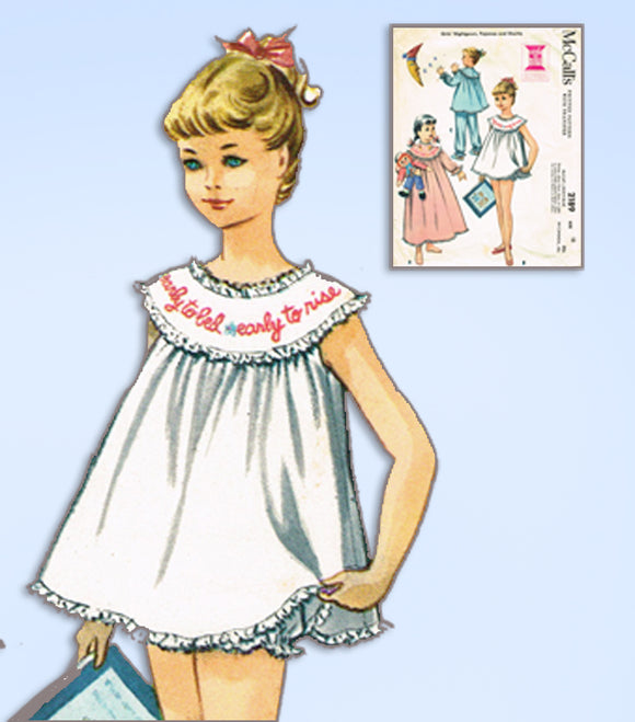 1950s Vintage McCall's Sewing Pattern 2189 Little Girls Shortie Pajama Set Sz 12