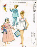 1950s Vintage McCall's Sewing Pattern 2189 Toddler Girls Shortie Pajamas Size 6