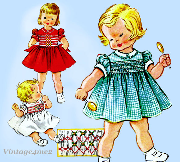 McCall's 2289: 1950s Cute Baby Girls Smocked Dress Sz 1 Vintage Sewing Pattern
