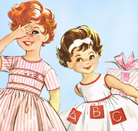 1950s Vintage McCalls Sewing Pattern 2301 Cute Baby Girls ABC Party Dress Size 1 - Vintage4me2