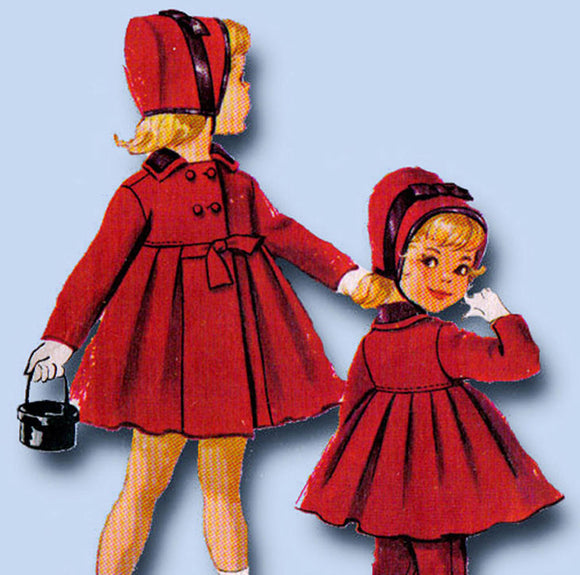 1950s Vintage McCalls Sewing Pattern 2307 Uncut Toddler Girls Flared Coat Size 2