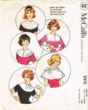 1950s Vintage McCalls Sewing Pattern 2315 Misses Set of Collars & Cuffs Fits All