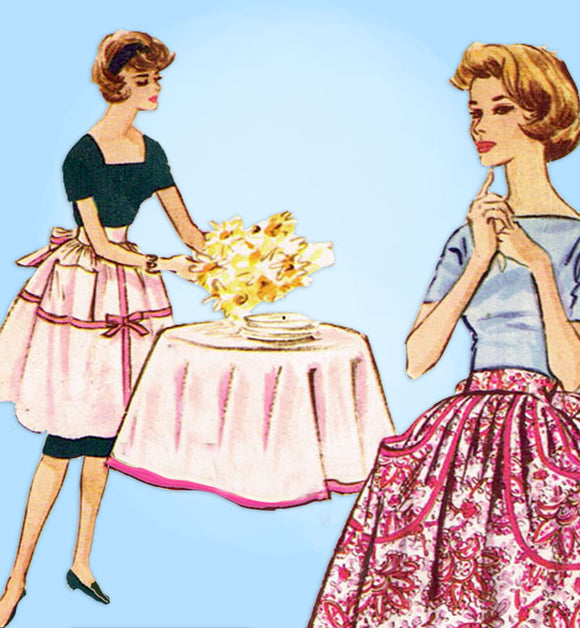 1950s Vintage McCall's Sewing Pattern 2337 Uncut Misses Knee Length Apron Fits All -Vintage4me2