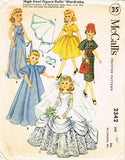1950s Vintage McCalls Sewing Pattern 2342 Revlon Doll 22 In Bridal Doll Clothes