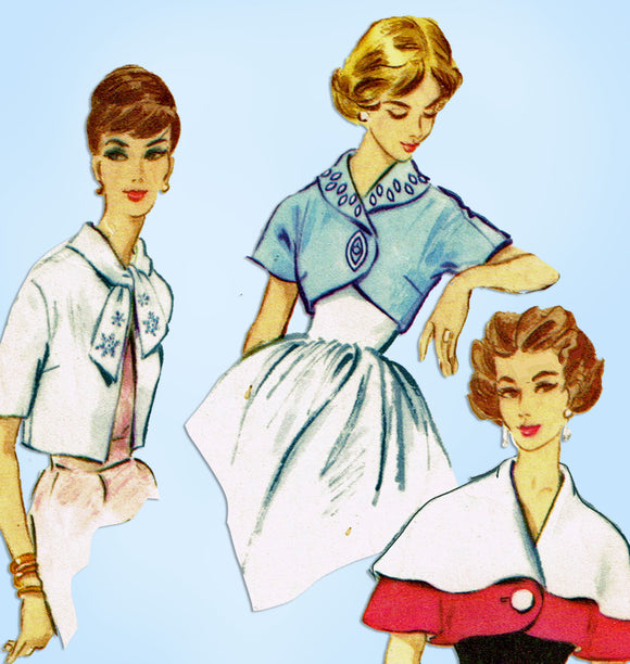 1950s Vintage McCall Sewing Pattern 2364 Misses Cape and Jacket Set 34 36 Bust - Vintage4me2