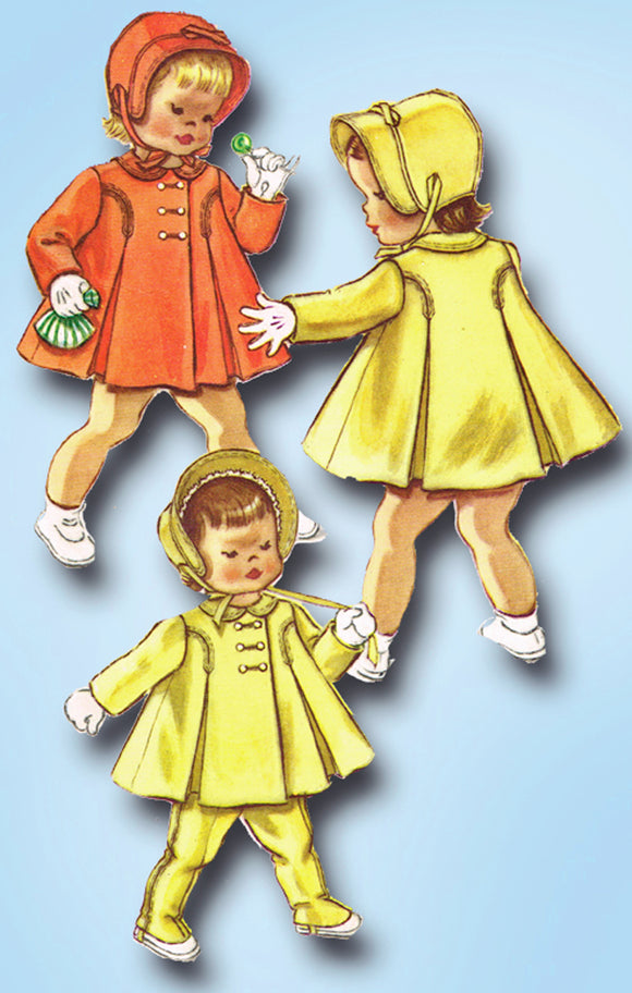 1950s ORIG Vintage McCalls Sewing Pattern 2365 Darling Baby Coat & Bonnet Size 1 -Vintage4me2
