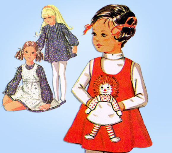 1970s McCalls Sewing Pattern 2530 Uncut Toddler Girls Raggedy Ann Dress Size 4 -Vintage4me2