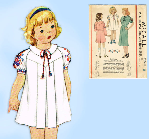McCall 285: 1930s Little Girls Pleated Dress Size 10 Vintage Sewing Pattern