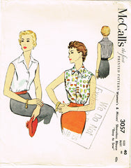 1950s Original Vintage McCall Pattern 3057 Misses Sleeveless Blouse Size 40 Bust
