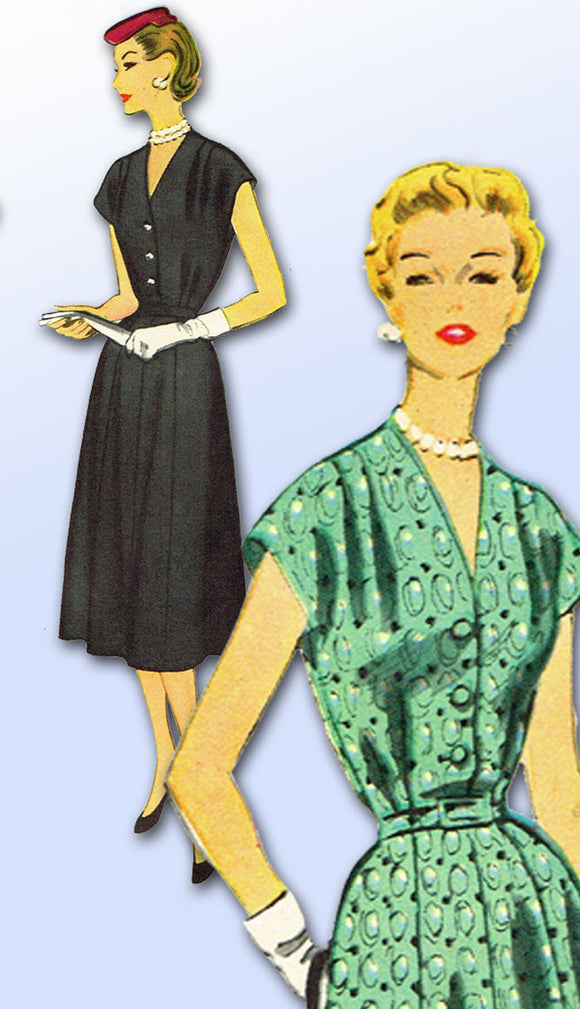 1950s Vintage McCalls Sewing Pattern 3078 Misses Day Dress Size 37 Bust -Vintage4me2