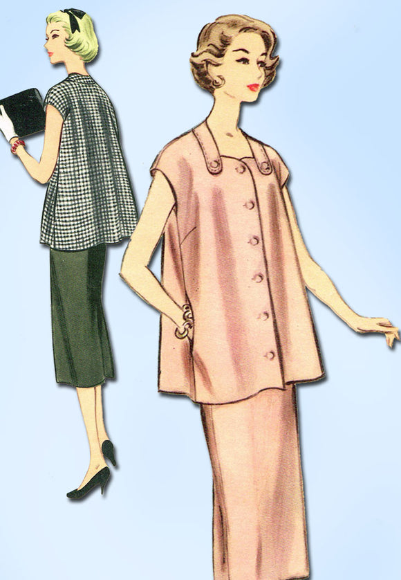 1950s Vintage McCalls Sewing Pattern 3133 Uncut Misses Maternity Suit Sz 12 30B