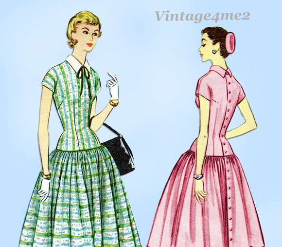 McCalls 3181: 1950s Misses Easy to Sew Dress Sz 30 Bust Vintage Sewing Pattern