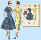 1950s Vintage McCalls Sewing Pattern 3182 Uncut Misses Two Piece Dress Sz 12 30B