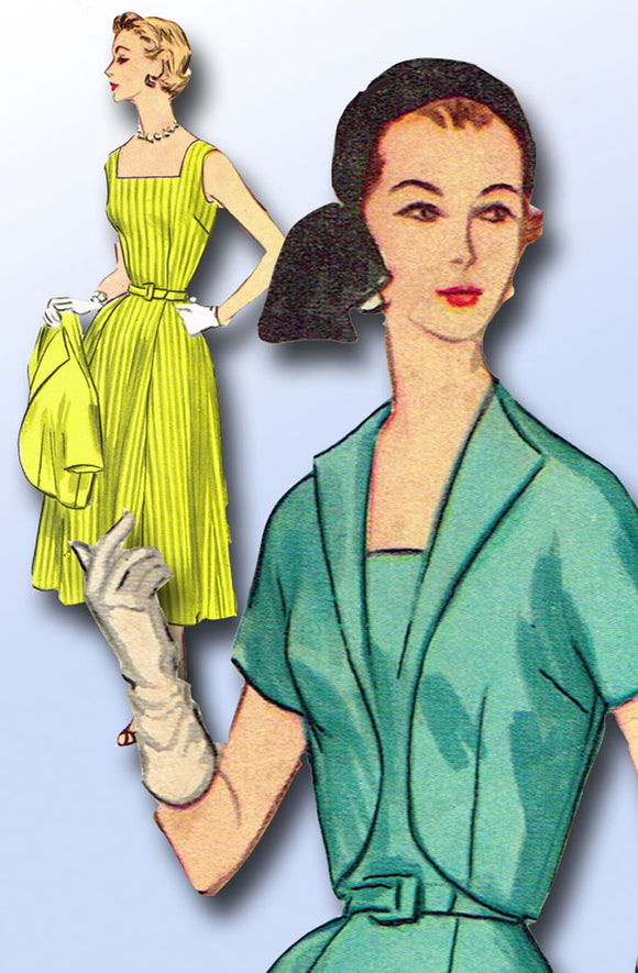 1950s Vintage McCalls Sewing Pattern 3199 Easy Misses Sun Dress and Bolero 37B
