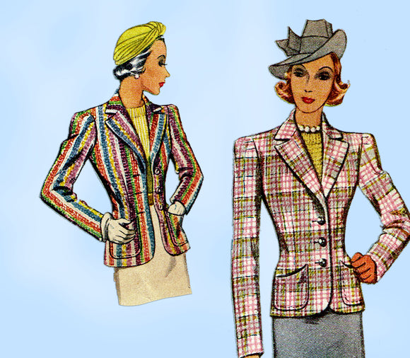McCall 3260: 1930s Misses Tailored Jacket Size 36 Bust Vintage Sewing Pattern